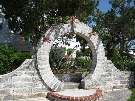 Bermuda, Moongate, Garden, Stonework, Stone, Sculpture