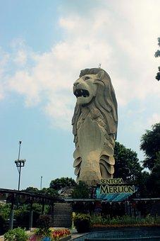 Merlion, Singapore, Sentosa, Lion Statue