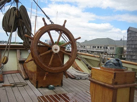 Boat, Ship, Wheel, Deck, Captain's Area, Sky, Clouds