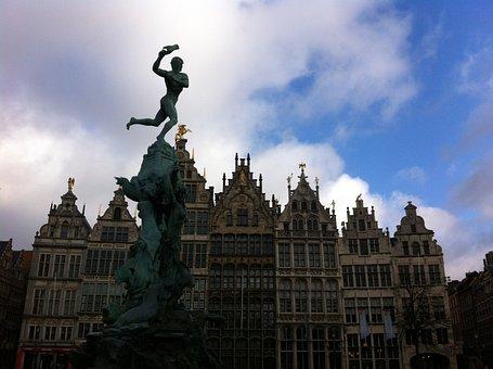 Belgium, Antwerp, Sculpture, Architecture, Sky, Fig