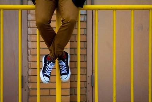 Converse, Shoes, Sneakers, Yellow, Railing, Brown