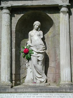 Woman, Female, Flower, Kelburn, Statue, Stonework