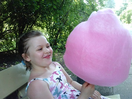 Cotton Candy, Child, The Little Girl, Park, A Smile