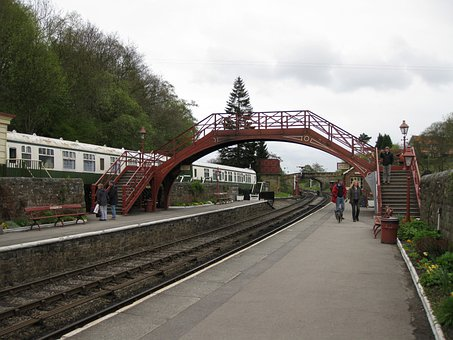Train Station, Goathland, Train, Track, Transportation