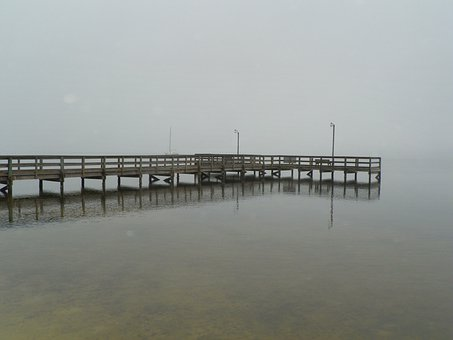 Pier, Water, Fog, Weather, Cloudy, Day, Nature, Foggy