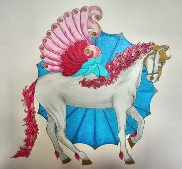 Winged, Horse, Animal, Mandala, Colored, Pencil
