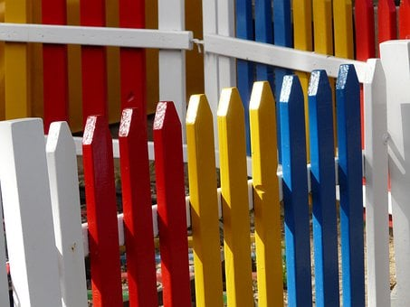 Garden Fence, Paling, Colorful, Color, Wood, Red