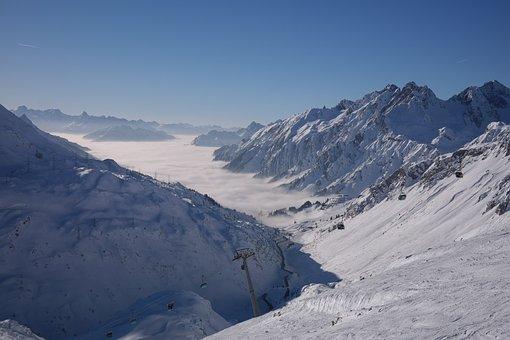 Ski Area, Arlberg, Ulmer Hütte, Winter, Mountains