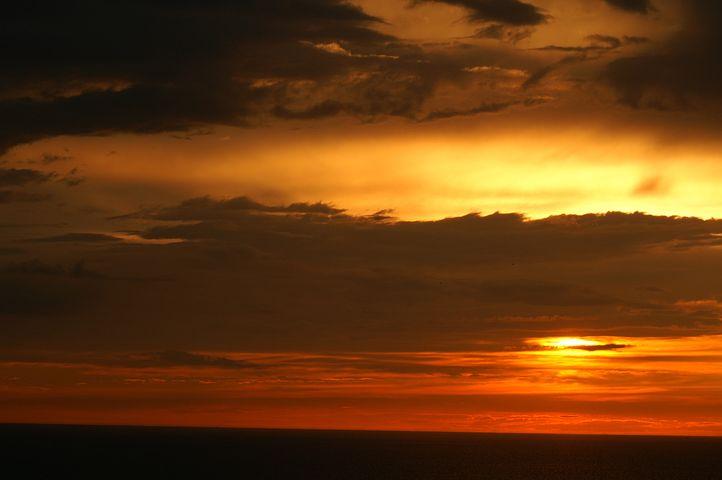 Sunset, Ocean, Twilight, Clouds, Orange Red Sky