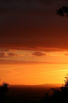 Sunset, England, Summer, Cotswolds, Sly, Orange
