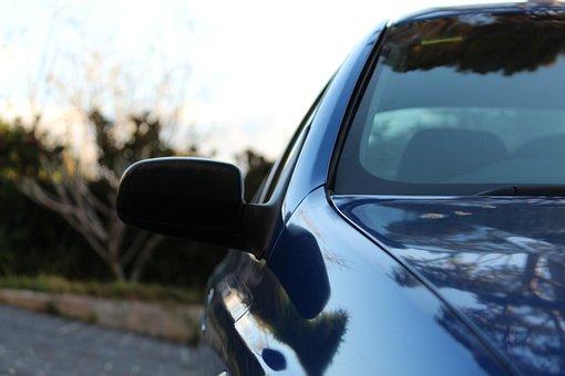 Car, Side Mirror, Profile, Blue Car, Front, Side