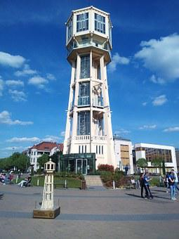 Water Tower, Main Square In Siofok, Summer