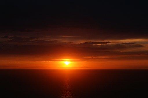 Sunset, Twilight, Mediterranean Sea, Seascape, Evening