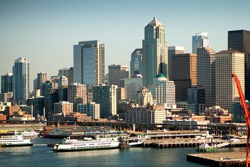 Seattle, Washington, Ships, Boats, Harbor, Bay, Water