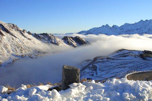 Mountains, Grossglockner, Fog, Sun, Snow, Alpine