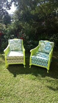 Chair, Green, Up-cycle, Recycle, Paint, Furniture