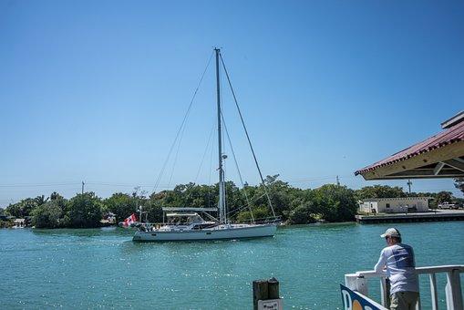 Nokomis, Florida, Pops Restaurant, Boat, Water, Canal