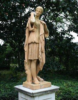 Garden Statue, Sculpture, Terracotta, Chiton, Woman