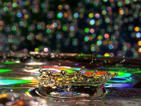 Water, Droplet, Art, Colour, Bokeh, Black, And, White