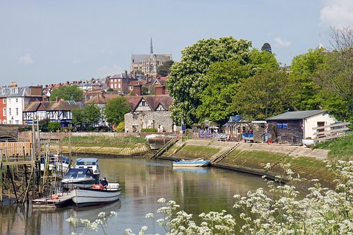 Arundel Cathedral, View, River, Scene, Sussex, England
