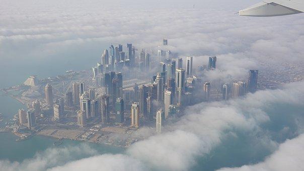 City, Skyscraper, Clouds, Doha, Drawing