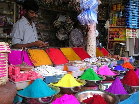 India, Market, Color, Colorful, Henna