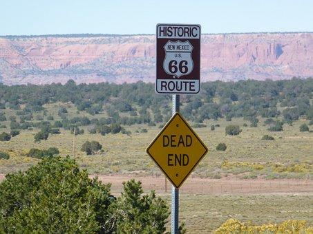 Route 66, Dead End Desert, Mountains, Landscapes