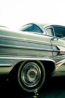 Oldtimer, Chrome, Automotive, Classic, Silver, Retro