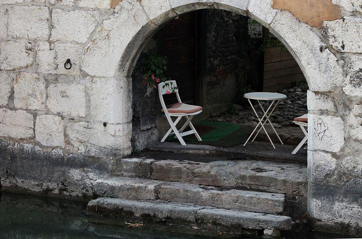 Chairs, Terrace, Water, River, Stairs
