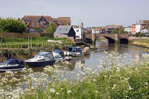 Boat, Boats, River, Scene, View, Arun, Arundel, Sussex