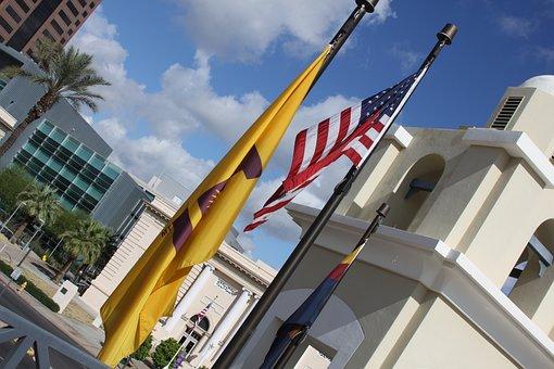 Asu, Flag, Usa, College, Sideways, Banner, Symbol