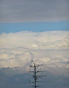 Antenna, Clouds, Cloudscape, Sky, Ether, Colors