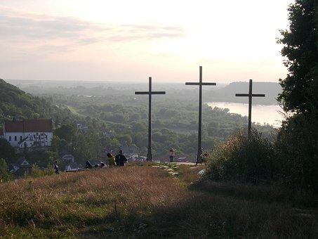 Poland, Evening, Kazimierz, Cross, Weichsel