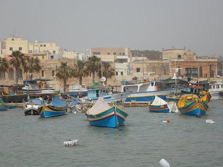 Port, Malta, Marsaxlokk, Boats, Fishing Boats