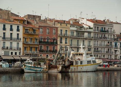 France, Sète, Port, Trawler, Fishing Boats