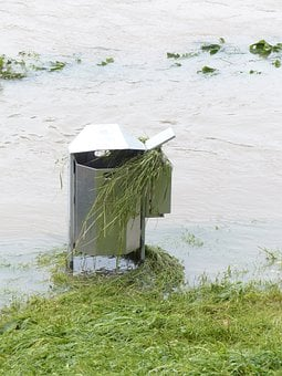 Garbage Can, Flood, High Water, Flooded, Grass