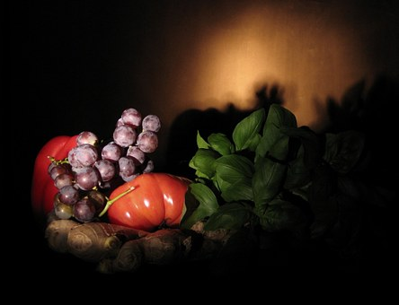 Fruit, Still Nature, Mature, Tomato, Grapes