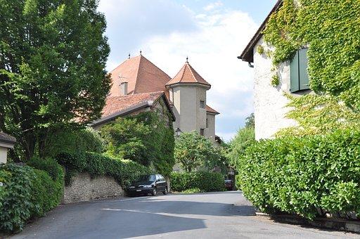 Village, Laconnex, Geneva, Castle, Ivy, Medieval
