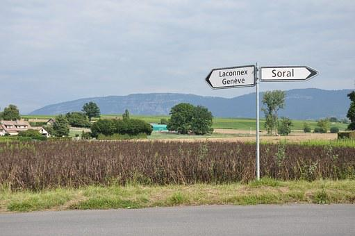 Laconnex, Geneva, Soral, Village, Road, Road Sign