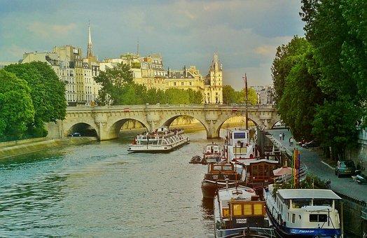 Paris, France, River, Boats, Ships, Its, Bridge, City