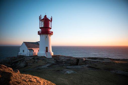 Guy, Lindesnes, Sunset, Norway, Evening, Night