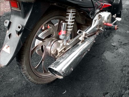 Muffler, Metallic, Motorcycle, Exhaust, Metal, Wheel