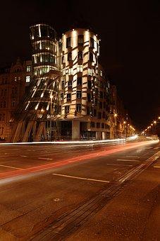 The Dancing House, House, Prague, Night, Lights