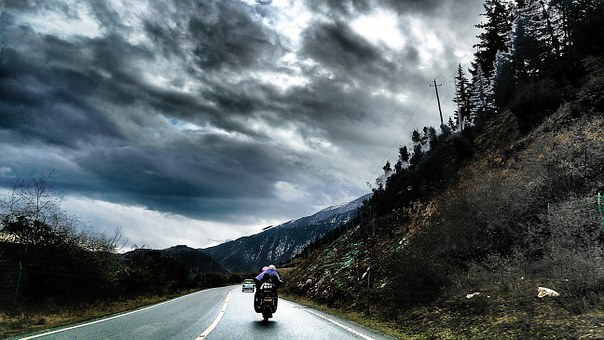 Road, Racing, Cloudy Day, Dark Clouds, Highway
