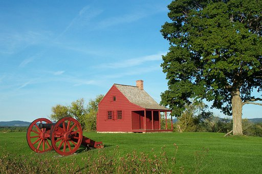Saratoga, New York, Cabin, Cannon, Historical, Sky