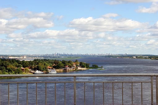 River, Rio Paraguay, Ship, Water, City
