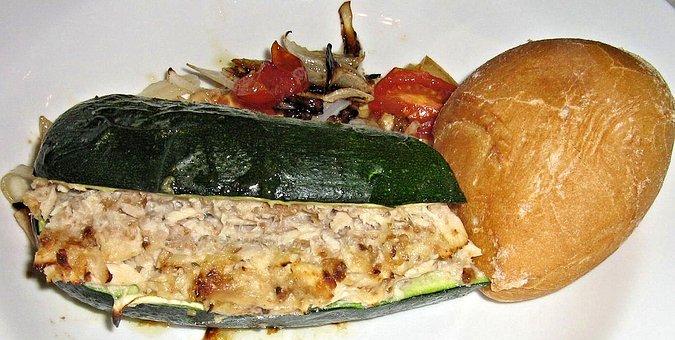 Tuna Stuffed Zucchini, White Bread, Tomatoes Onions