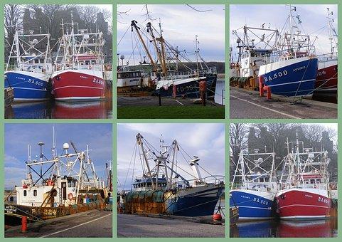 Trawlers, Collage, Fishing, Vessels, Scotland