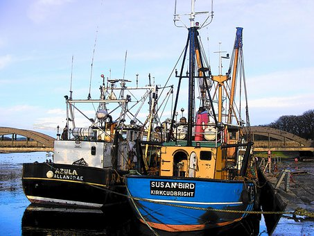 Trawlers, Fishing, Boats, Water, Scotland, Vessel
