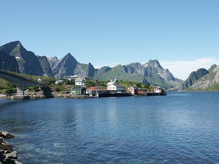 Lofoten, Arctic, Norway, Village, Fjord, Summer, Water